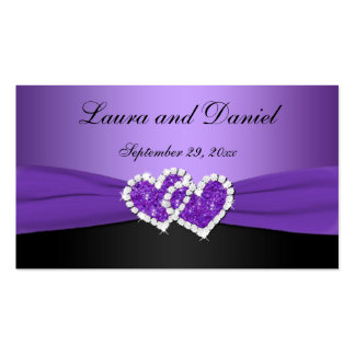 Purple and Black Joined Hearts Wedding Favor Tag Business Card