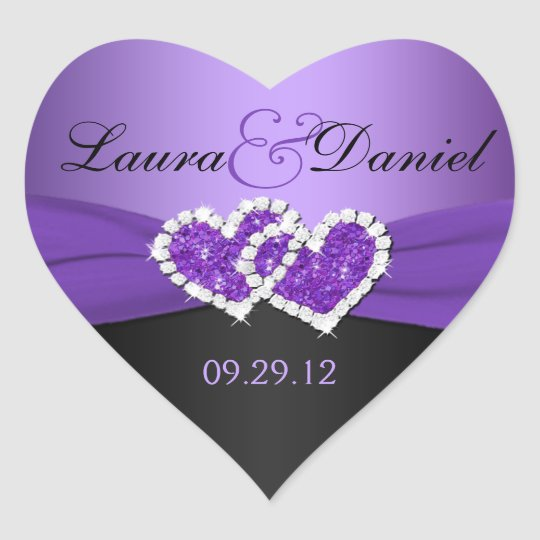 Purple Hearts Wedding Purple and Black Joine...