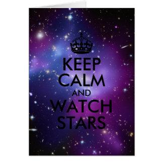 Purple and Black Keep Calm and Watch Stars Card