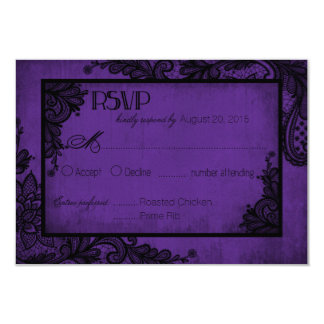 Purple and Black Lace Gothic RSVP Card