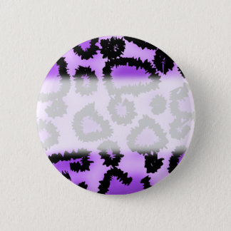 Purple and Black Leopard Print Pattern. 6 Cm Round Badge