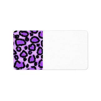 Purple and Black Leopard Print Pattern. Address Label