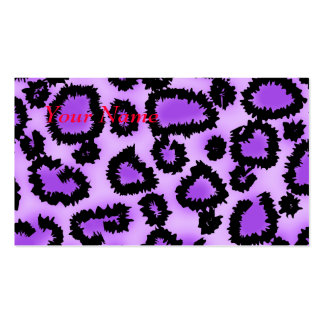 Purple and Black Leopard Print Pattern. Business Card Templates