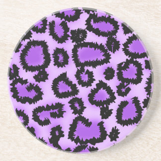 Purple and Black Leopard Print Pattern. Coaster