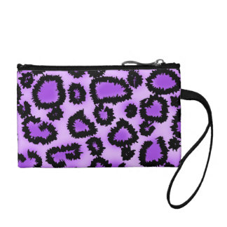 Purple and Black Leopard Print Pattern. Coin Wallet