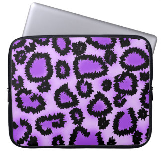 Purple and Black Leopard Print Pattern. Laptop Sleeve