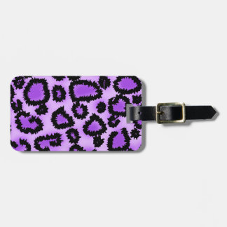 Purple and Black Leopard Print Pattern. Luggage Tag