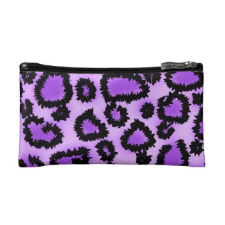 Purple and Black Leopard Print Pattern. Makeup Bags