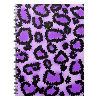 Purple and Black Leopard Print Pattern. Notebooks