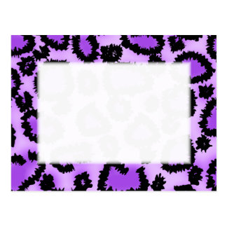 Purple and Black Leopard Print Pattern Post Cards