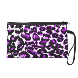 Purple and Black Leopard Print Wristlet Purses