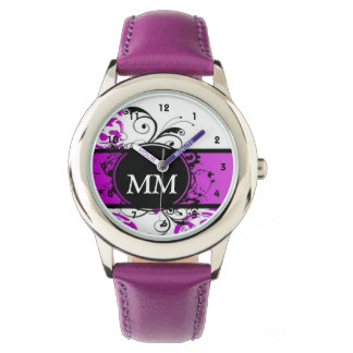 Purple and black monogram on white watch