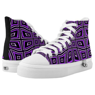 PURPLE AND BLACK OPTICAL ILLUSION HIGH TOP SNEAKER PRINTED SHOES