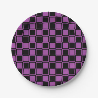 Purple and Black Outlined Squares Paper Plate