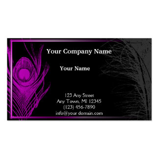 Purple and Black Peacock Business Card Template