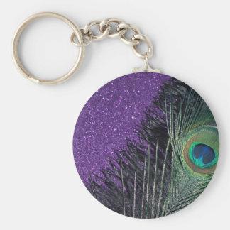 Purple and Black Peacock Key Ring
