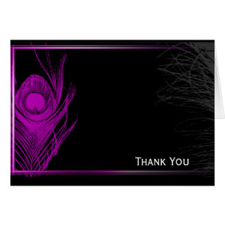 Purple and Black Peacock Note Card