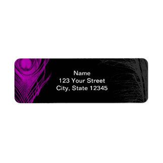 Purple and Black Peacock Return Address Label