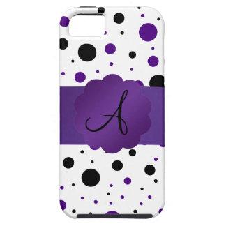 Purple and black polka dots monogram iPhone 5 covers