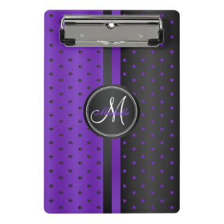Purple and Black Polka Dots - Monogram Mini Clipboard