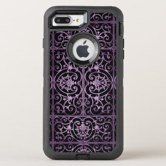 Purple and black scrollwork OtterBox defender iPhone 7 plus case