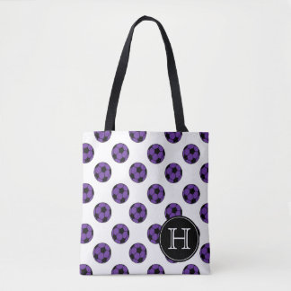 Purple and Black Soccer Balls on White Monogram Tote Bag