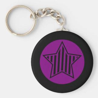 Purple and Black Star Keychain