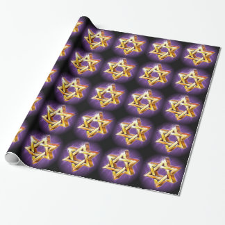 Purple and black Star of David Wrapping Paper