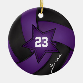 Purple and Black Star Volleyball Round Ceramic Decoration