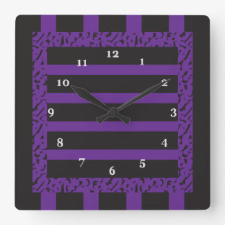 Purple and Black Striped Leopard Print Square Wall Clock