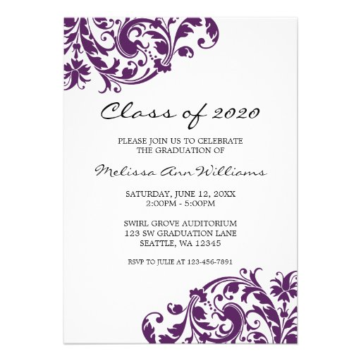 Purple and Black Swirl Graduation Announcement