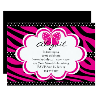 Purple and Black Tiger Print 13 Cm X 18 Cm Invitation Card