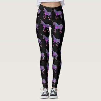 PURPLE AND BLACK UNICORN LEGGINGS