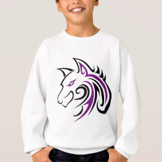 Purple and Black Wolf Head Outline Sweatshirt