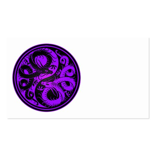 Purple and Black Yin Yang Chinese Dragons Business Card Templates