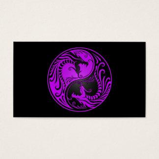 Purple and Black Yin Yang Dragons Business Card