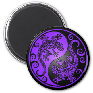 Purple and Black Yin Yang Geckos Magnet