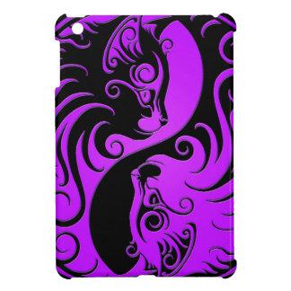 Purple and Black Yin Yang Kittens iPad Mini Cover