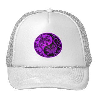 Purple and Black Yin Yang Lizards Hat