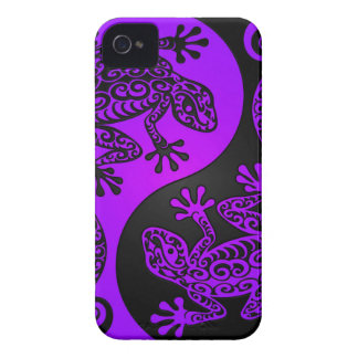 Purple and Black Yin Yang Lizards iPhone 4 Cases
