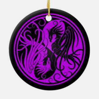 Purple and Black Yin Yang Phoenix Round Ceramic Decoration
