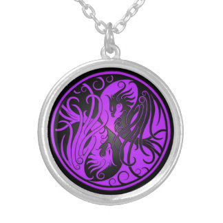 Purple and Black Yin Yang Phoenix Silver Plated Necklace