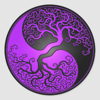 Purple and Black Yin Yang Tree Classic Round Sticker