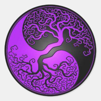 Purple and Black Yin Yang Tree Round Sticker