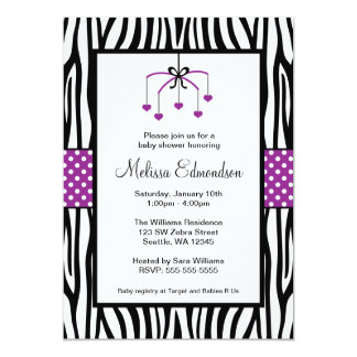 Purple and Black Zebra Heart Mobile Baby Shower Personalized Announcement