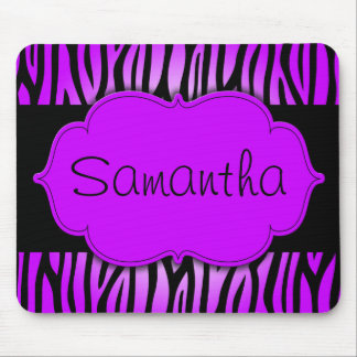 Purple and Black Zebra Personalized Mouse Mat