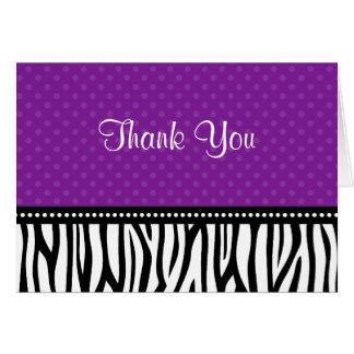 Purple and Black Zebra Polka Dot Thank You Card