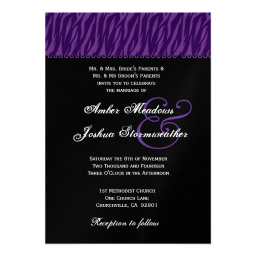 Purple and Black Zebra Print Wedding Metallic 13 Cm X 18 ...
