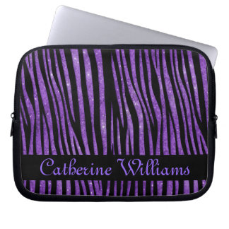Purple and Black Zebra Skin Pattern on Glitter Laptop Sleeve