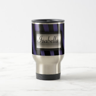 Purple and Black Zebra Stripes with Nameplate Stainless Steel Travel Mug